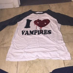 """I ❤️ Vampires"" fitted 3/4 sleeve tee."